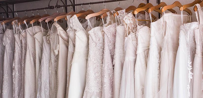 wedding dresses hanging